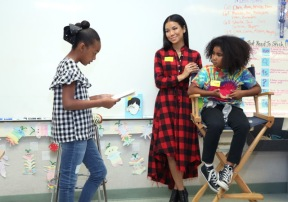 LOS ANGELES, CA - OCTOBER 20: Jhene Aiko launches #PennysPen National Day on Writing Campaign with Get Schooled at Baldwin Hills Elementary School on October 20, 2017 in Los Angeles, California. (Photo by Jerritt Clark/Getty Images for Def Jam Recordings) *** Local Caption *** Jhene Aiko