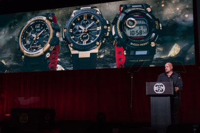 G-SHOCK 35th Anniversary Press Conference_David Johnson and Gold Tornado Collection _Photo Credit_ Ryan Muir